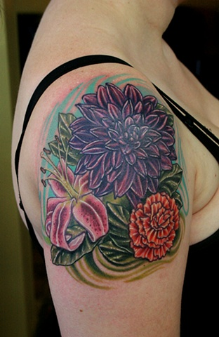 Dahlia, Lily, and Carnation Tattoo