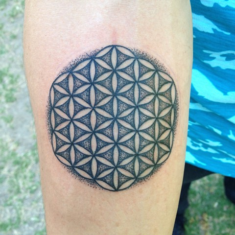 Stippled Flower of Life Tattoo