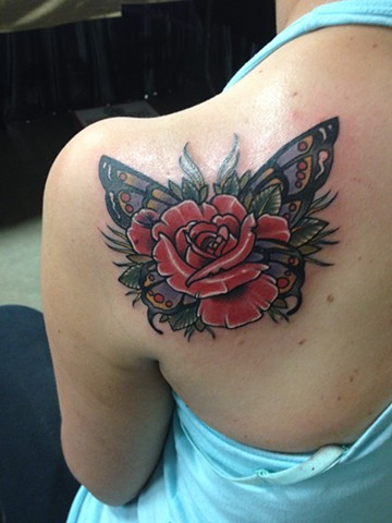 Butterfly Rose Tattoo