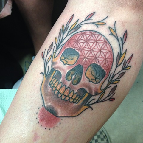 Flower of Life Skull Tattoo