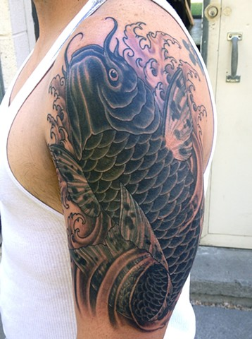 Black Koi Fish Coverup Tattoo