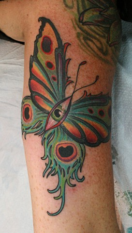 Peacock Feather Butterfly Eye Morph Tattoo