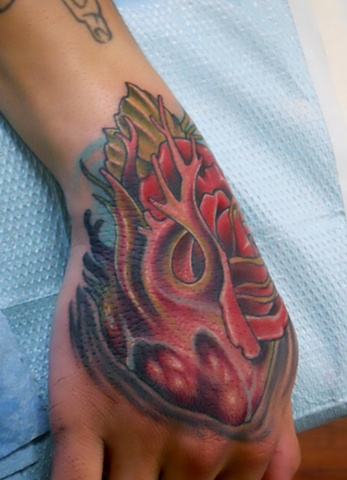 Heart-Rose Morph Hand Tattoo