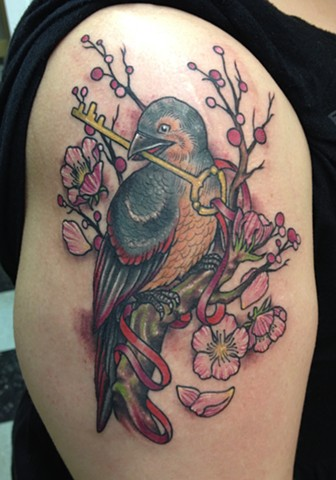 Bird and Key Tattoo