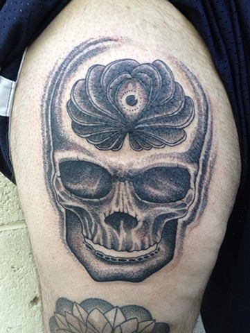 Stippled Skull and Third Eye Tattoo