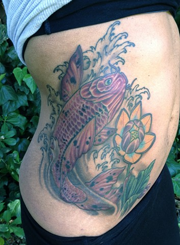 Koi Fish and Lotus Coverup Tattoo