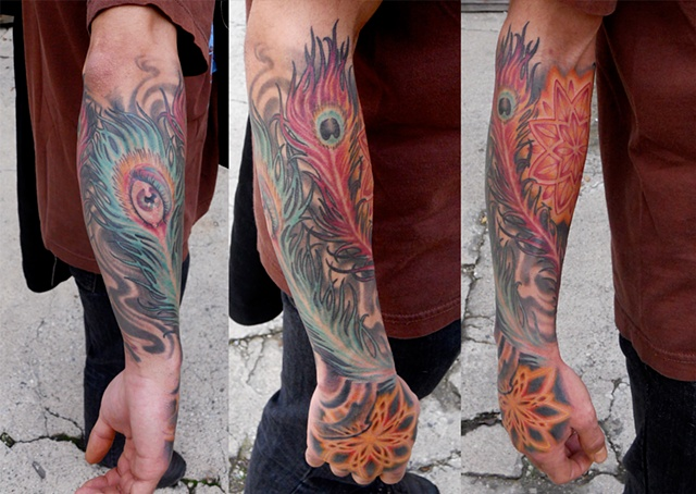 mandalas + peacock feathers + eye = awesome tattoo