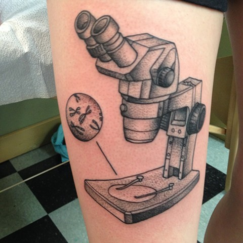 Stippled Microscope Tattoo