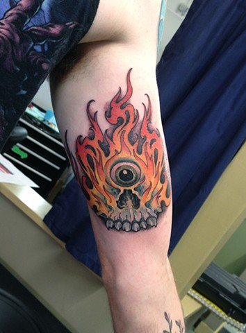 Fiery Cyclops Skull Tattoo
