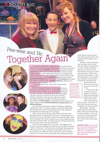 Feature in Make-Up Artist Magazine for PeeWee Herman Show