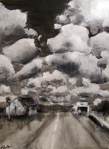 black and white, texas highway, clouds