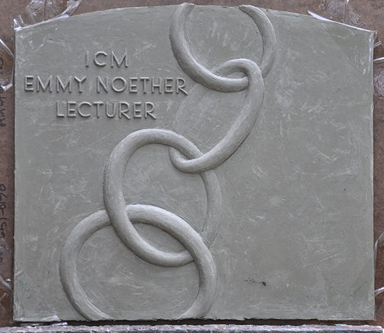 Bas-relief used to produce the reverse (back) of the Emmy Noether Lecturer plaquette.  The model was scanned and reduced, then joined to the obverse (front) bas-relief, to produce the two-sided bronze plaquette.