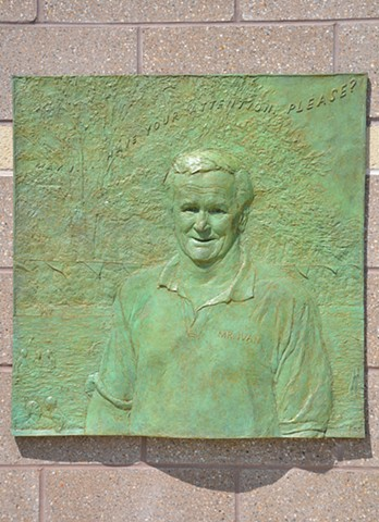 Permanent installation of honorary bas-relief portrait at Community Park Pool, Princeton, New Jersey.