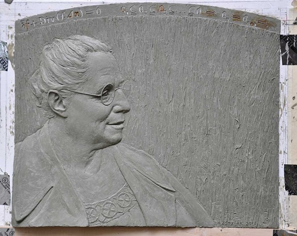 This portrait was reduced and cast in bronze as the obverse of the Emmy Noether Lecturer commemorative plaquette.  Every four years the International Mathematical Union (IMU) invites a female mathematician of the highest distinction to lecture at the Inte