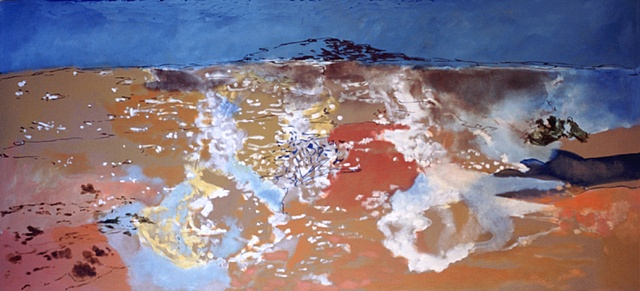 """I Should Have Gone To Antarctica When I Was Young"" oil and enamel on canvas 32 x 72"" 2002 private collection"