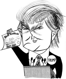 Donald Trump by Tom Bachtell (The New Yorker, Comment, TRUMPERY by Hendrik Hertzberg)