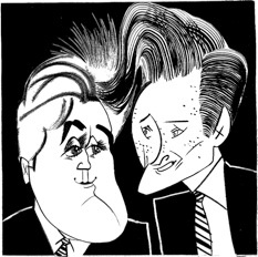 Jay Leno & Conan O'Brien by Tom Bachtell; The New Yorker; Nancy Franklin