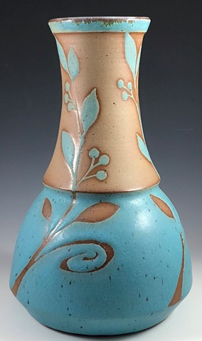 Tall turquoise vase