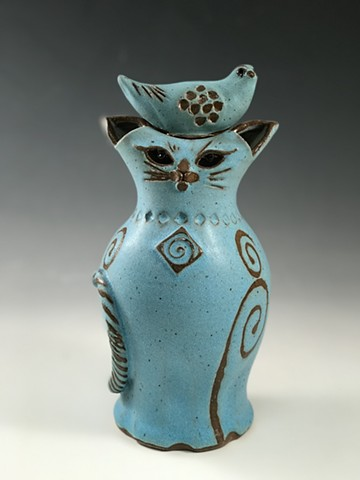 Lidded Cat vase