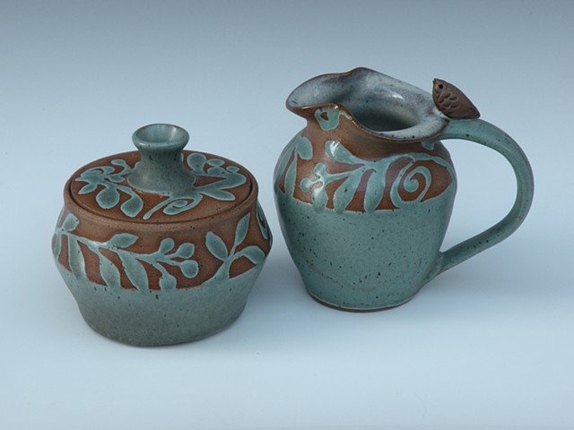 Creamer & Sugar Bowl, Patina Green