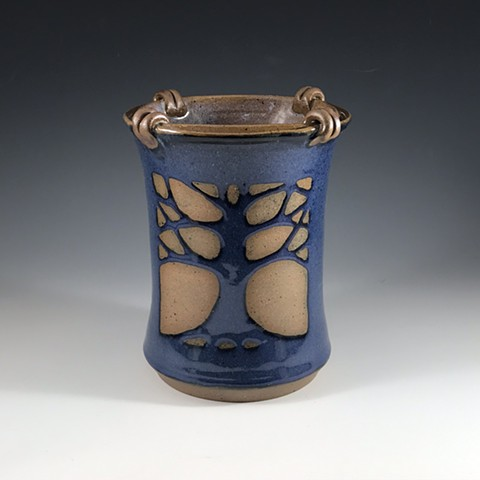 Tree of Life utensil holder-blue
