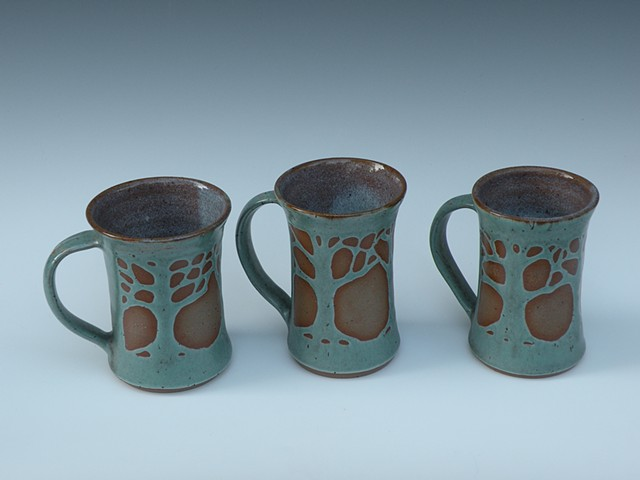 Tall Mugs, Patina Green