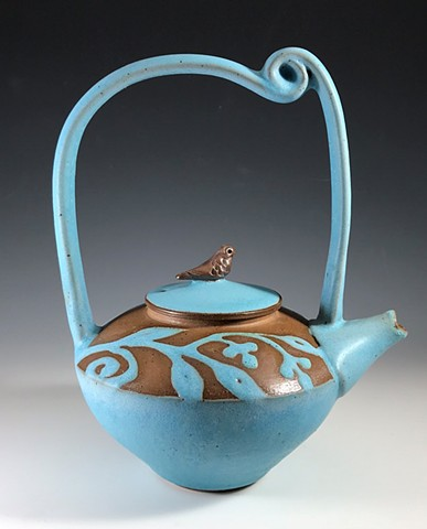 High Handled Teapot in Robins Egg Blue