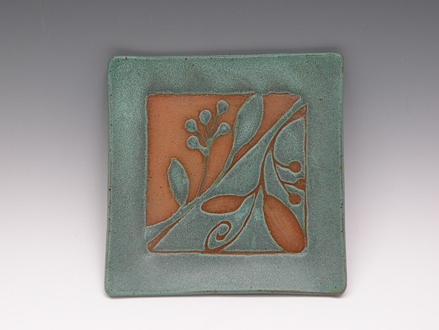 Square tray with reverse design, bronze green