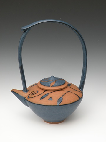 Blue tall handle teapot