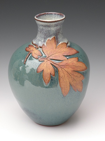 Aqua Leaf Vase with Dragonfly