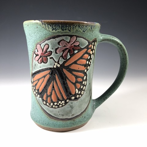 Butterfly mug with flowers