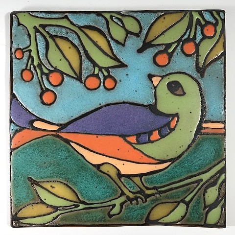 Multicolor bird tile