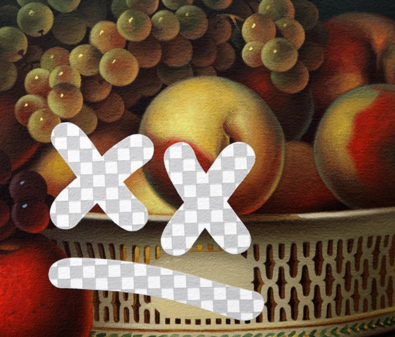Tiny Dissatisfied Still Life (Fruit In A Chinese Export Basket, White House Art Collection Erasure No. 29), detail