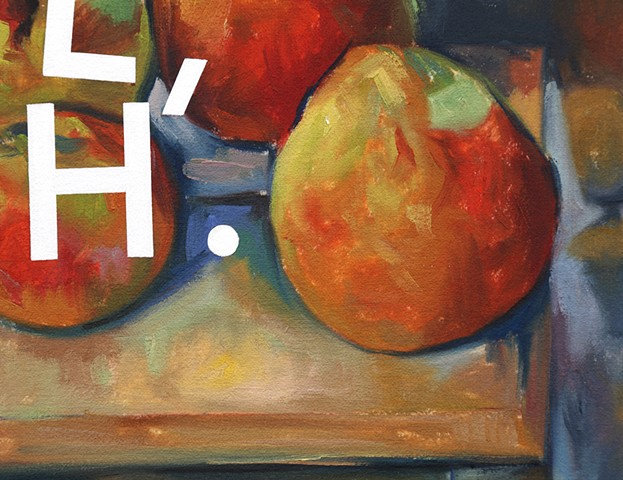 Still Life With Apples and Pears: Laughing Out Loud, Meh., detail