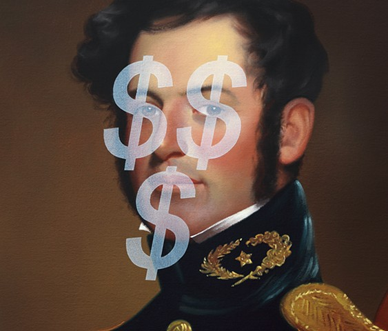 Follow The Money: Young Robert E. Lee (Based On Money Face Emoji), detail
