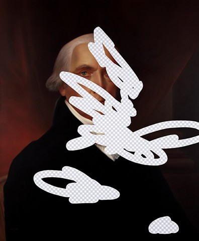 Moderation On One Side, Prudence On The Other (James Madison, White House Art Collection Erasure No. 9)
