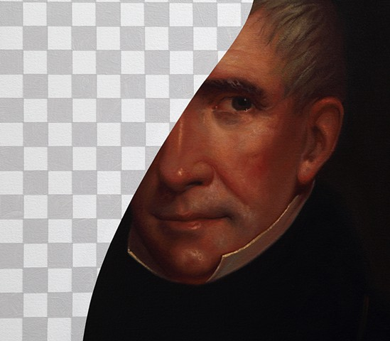 White Lies Beneath (William Henry Harrison, White House Art Collection Erasure No. 10), detail