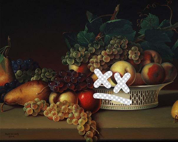 Tiny Dissatisfied Still Life (Fruit In A Chinese Export Basket, White House Art Collection Erasure No. 29)