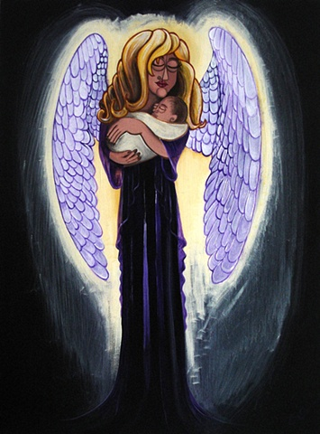 angelic guardian acrylic painting