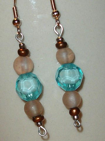 Turquoise natural and copper bead drop earrings