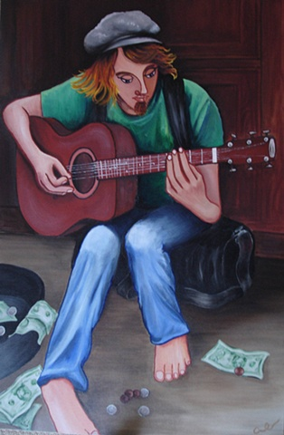 Musician guitarist contemporary acrylic painting