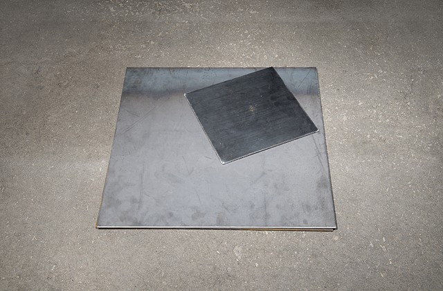 A steel plate from Japan dropped from the second floor of the studio 31 times (self portrait embodying the violence of men who preceded me)