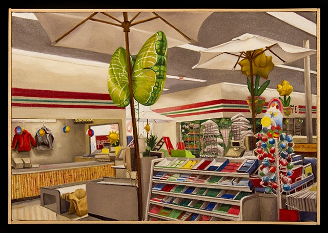 painting of checkout at grocery store