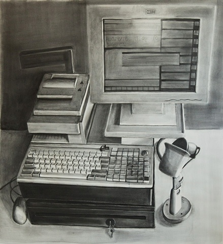 graphite wash drawing of a cash register system