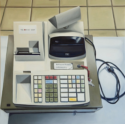 oil painting of cash register