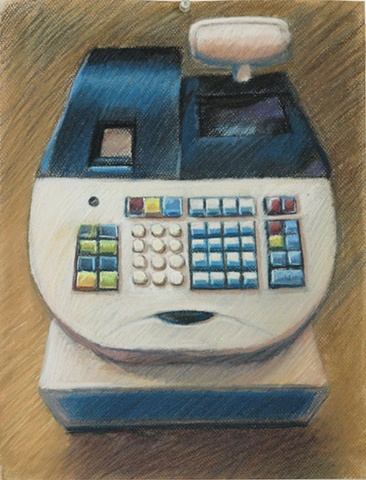 pastel drawing, drawing, cash register