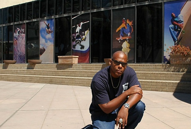 Los Angeles CAAM Museum Commissioned 10 9'x4' photos from Pep Williams to be displayed in front of the museum for 8 months. Pep Williams in front of the CAAM Museum in Los Angeles displaying his work.