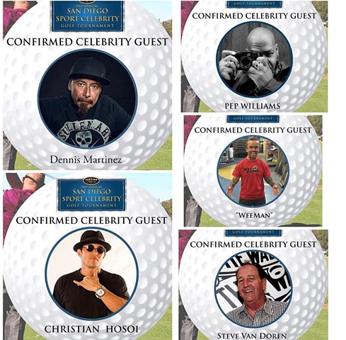 celebrity Golf tournament showcasing Pep Williams work. San Diego, Ca.