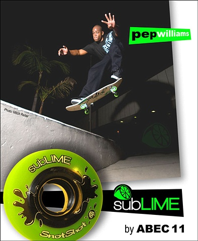 Pep Williams skating in a subLIME magazine Ad.