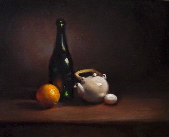 Still Life with Teapot and Orange